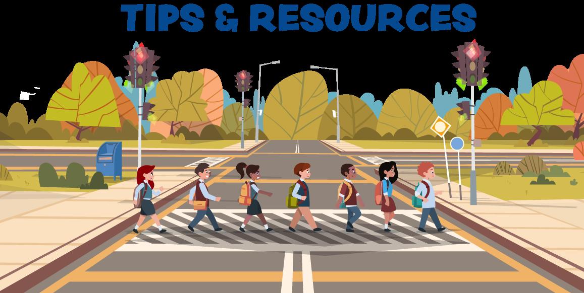 Illustrated kids crossing street using cross-walk.