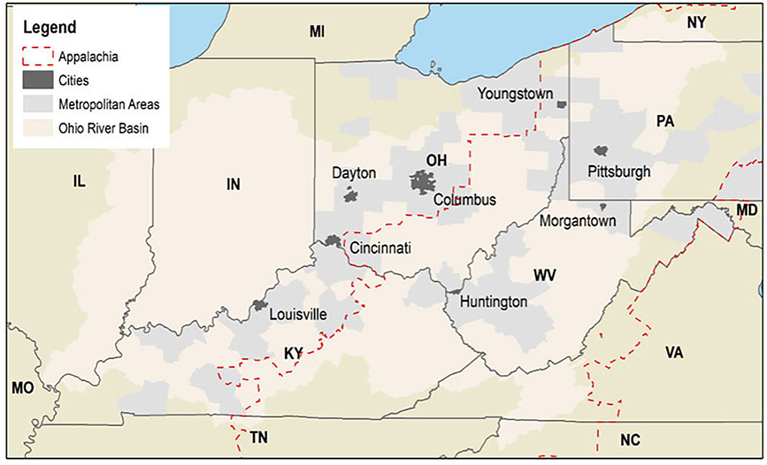 Map of Ohio River Valley and Upper Appalachia areas.