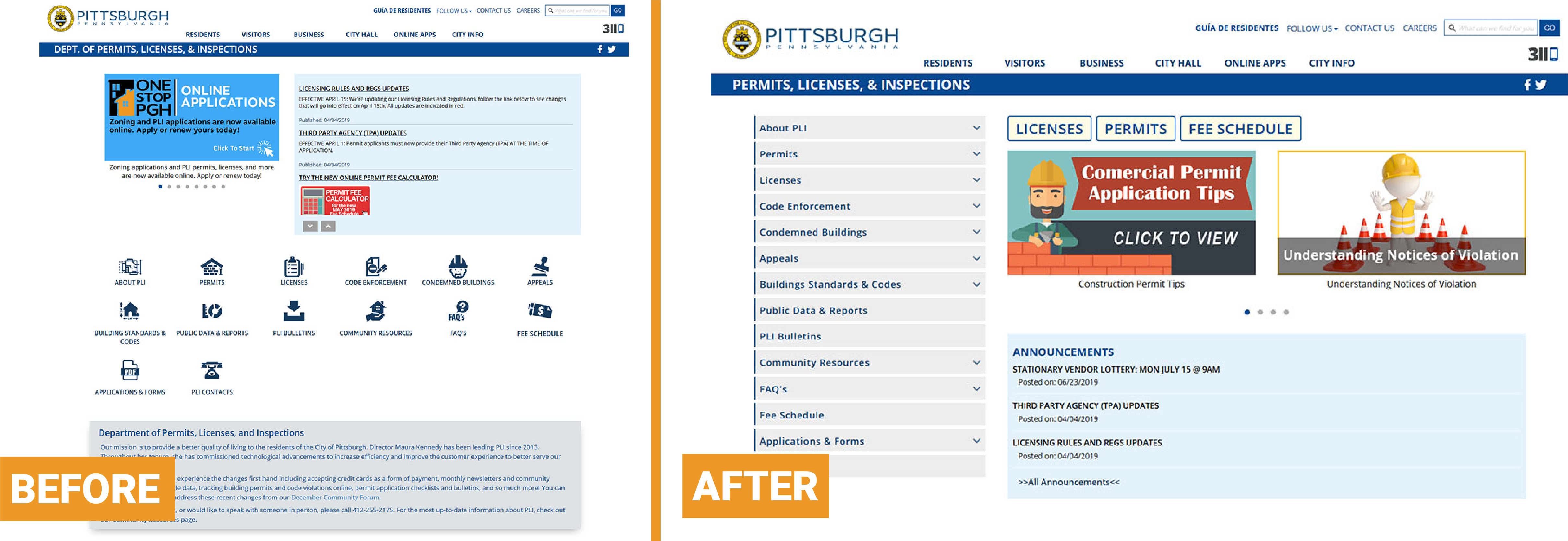 before & after of PLI homepage