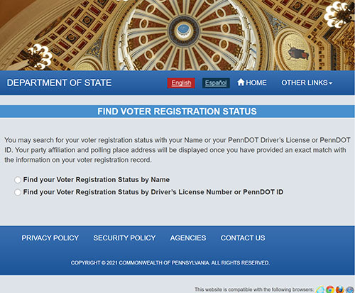Link to PA Voters Services.