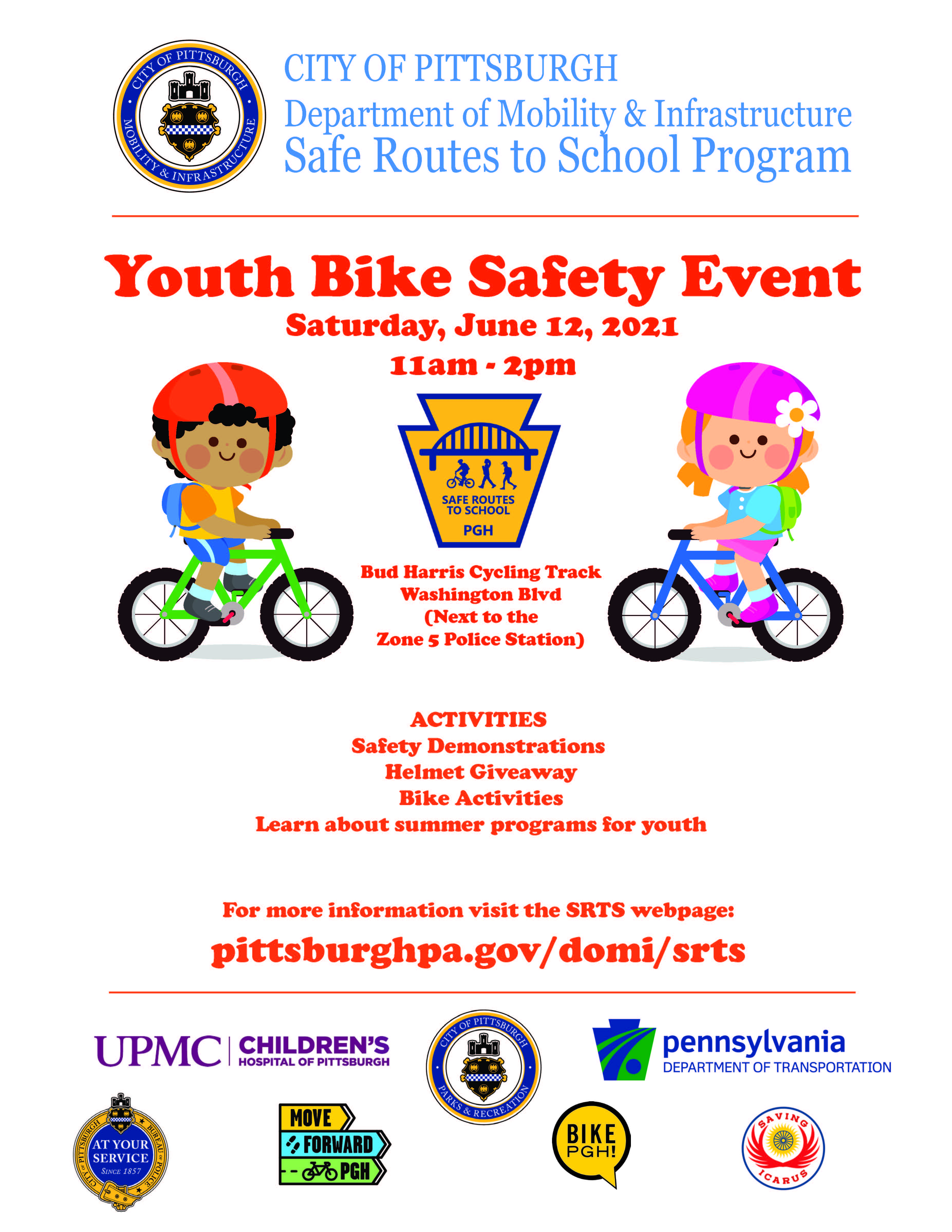 Flyer of information stating Youth Bike Safety Day on June 12, 2021 11 am - 2 pm at the Bud Harris Cycle Track on Washington Blvd (next to Zone 5 Police Station)