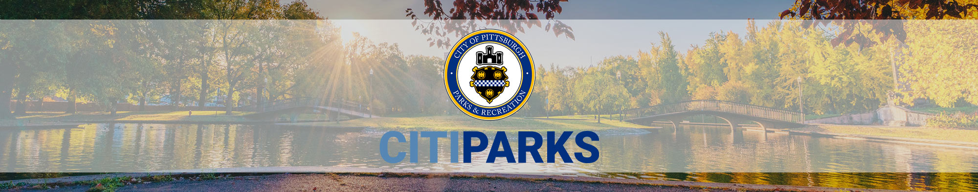 Allegheny Commons Park with Citiparks Seal and logo overlaid on top.