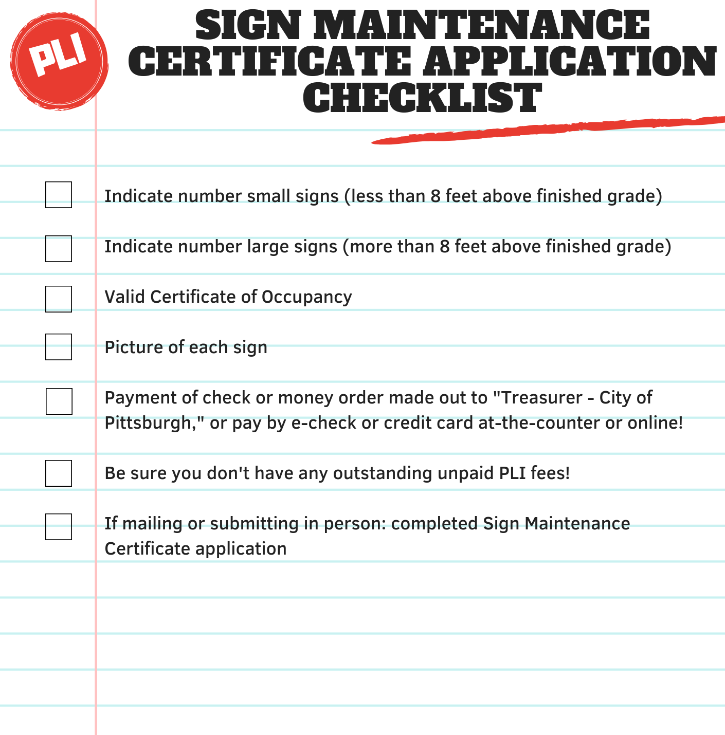 Sign Maintenance Certificate Pittsburghpa