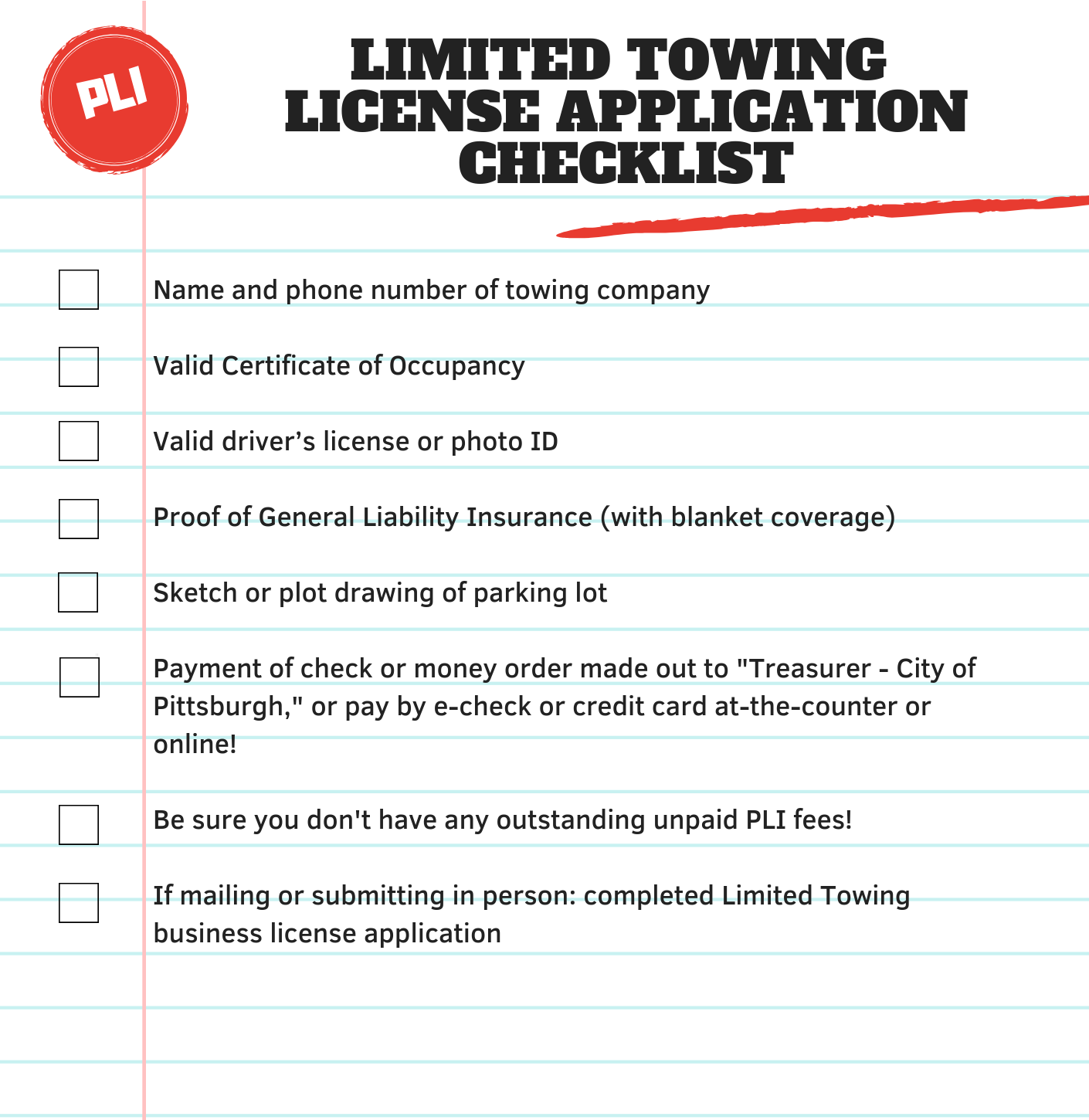 Towing License Pittsburghpa
