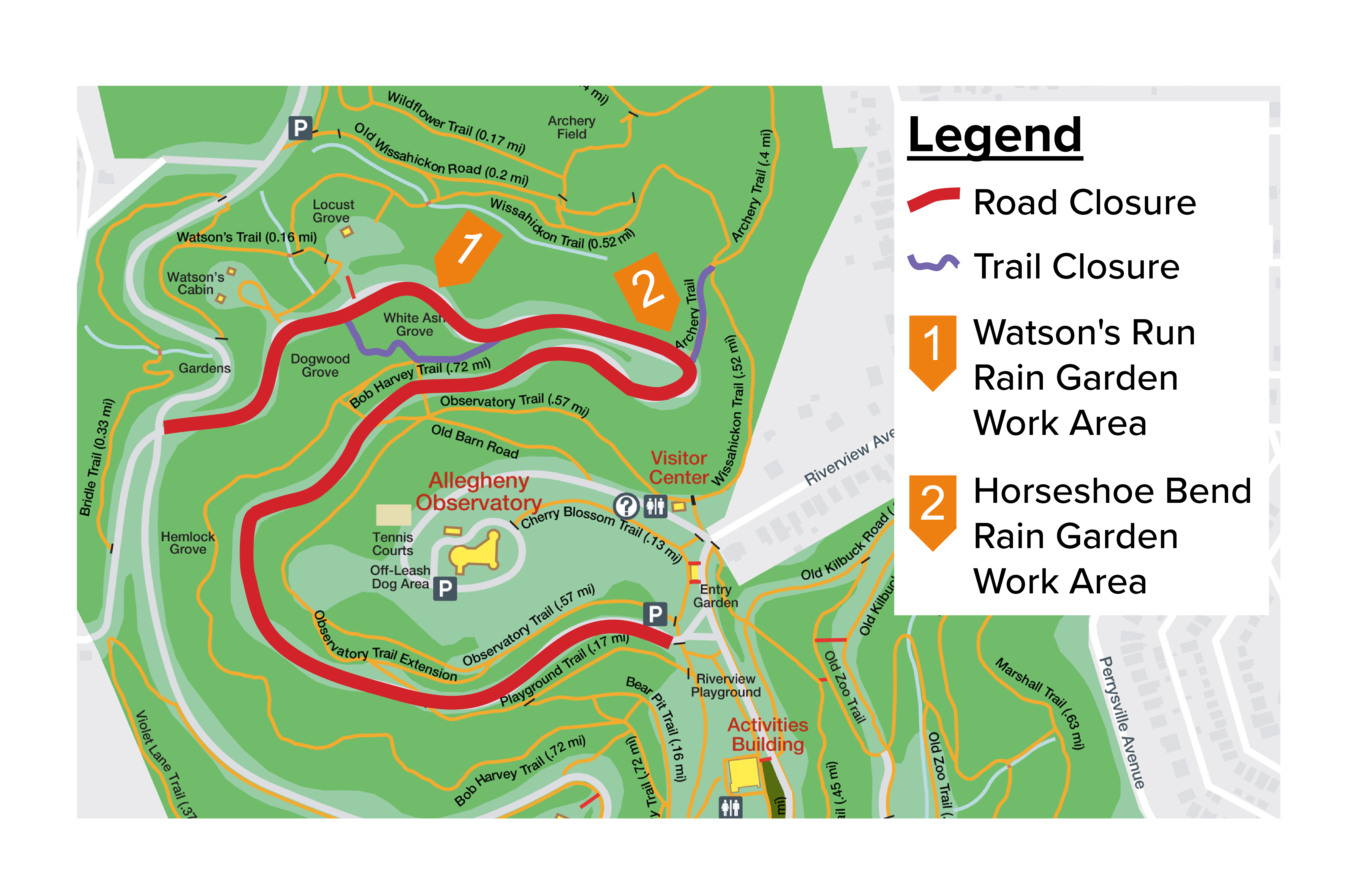 Map showing road and trail closures for project phase one