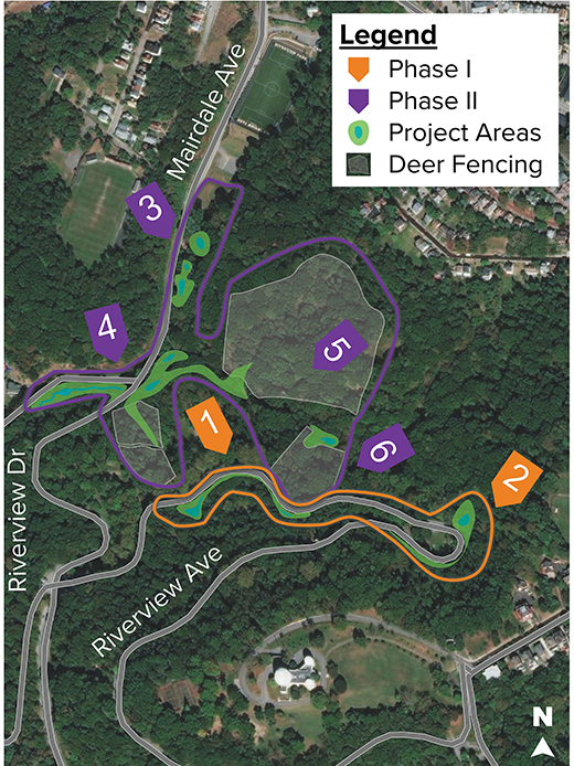 Project Map showing Phase I orange and Phase II purple of the Woods Run Project