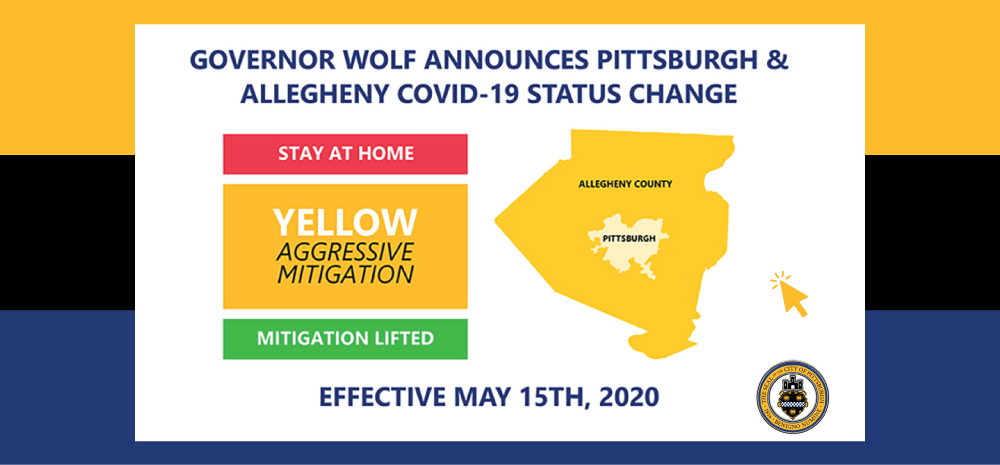 Allegheny County transitions to yellow May 15 - click here to go to the Allegheny County Covid Update website.
